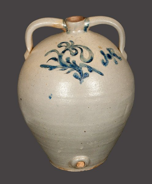 """Incised Stoneware Water Cooler Signed """"J. R.,"""" probably"""