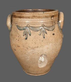 Ovoid Stoneware Jar With Incised Drape Decoration, Manh