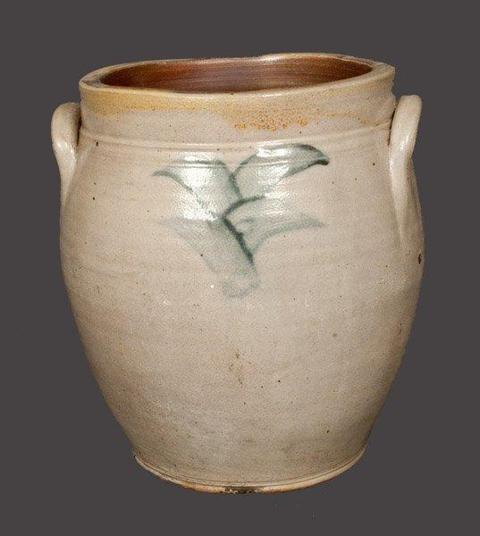 Ovoid Stoneware Jar with Floral Decoration, att. New Yo