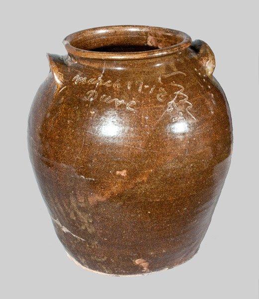 Important Five Gallon Edgefield, SC Stoneware Jar Signe