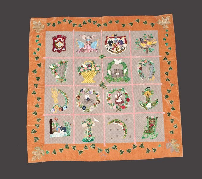 Exceptional 1892 Album Style Quilt with Highly-Detailed
