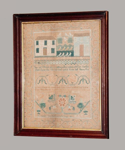 Outstanding 1815 Architectural Needlework Sampler, prob
