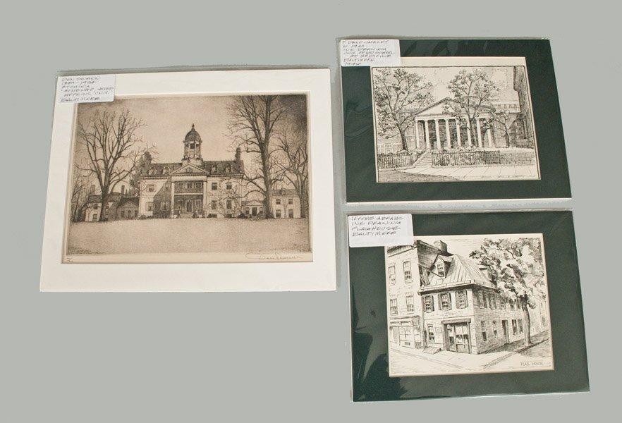 Lot of Three: Etchings of Baltimore Landmarks