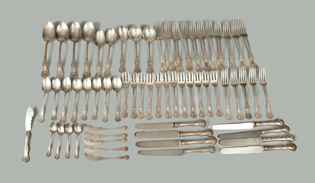 63 Pieces of Charles II Silver Utensils, Assorted Marks