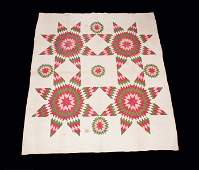 Red Pink and Green Star Quilt