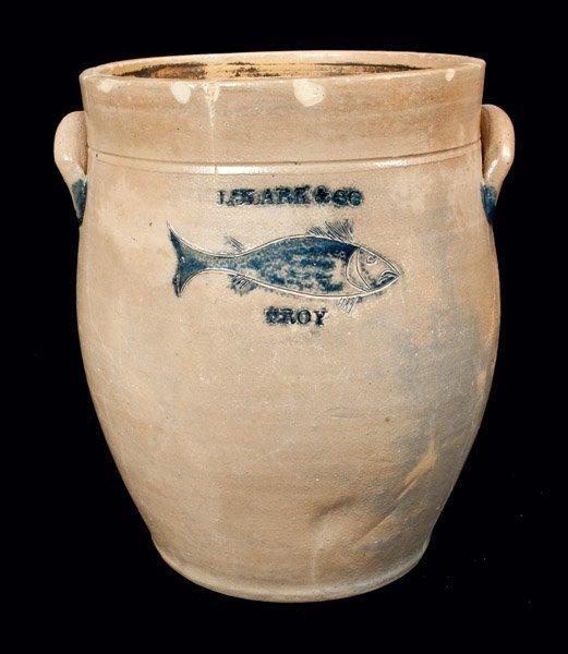 Rare J. CLARK & CO. / TROY Stoneware Crock w/ Incised