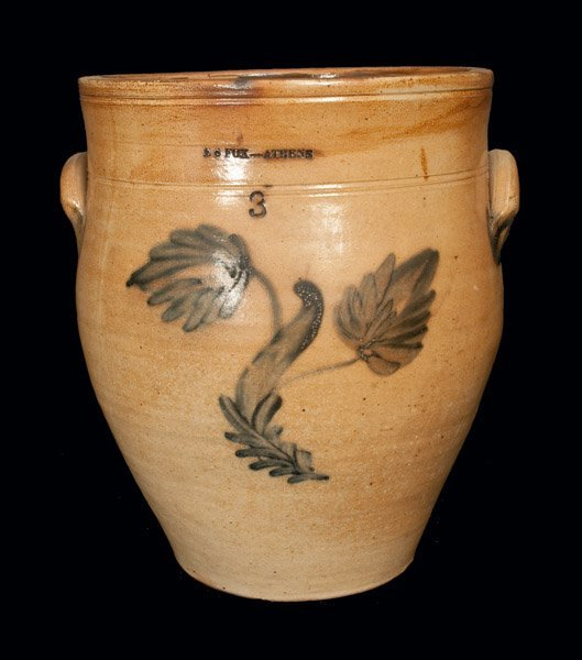 3 Gal. E. S. FOX / ATHENS Stoneware Crock with Floral
