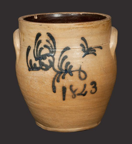 Stoneware Jar Dated 1843 att. Smith & Day, Norwalk, CT