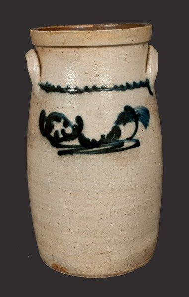 3 Gal. Stoneware Churn with Slip-Trailed Decoration,