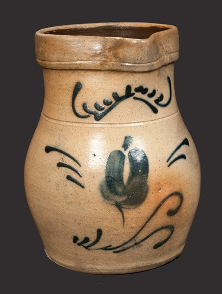1/2 Gal. Stoneware Pitcher with Floral Decoration