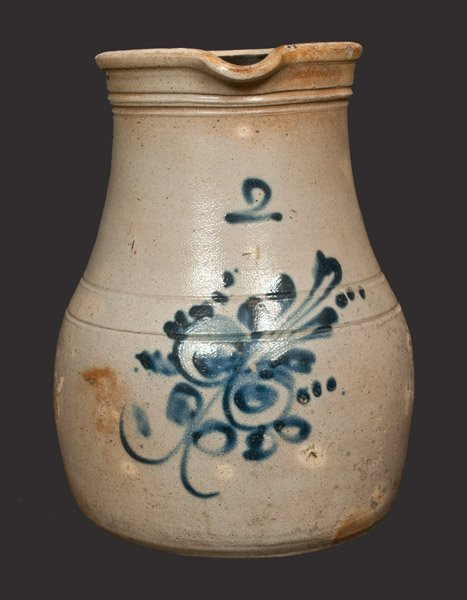 2 Gal. Stoneware Pitcher with Floral Decoration,