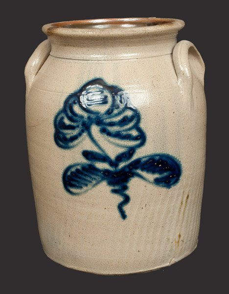 2 Gal. Stoneware Crock with Slip-Trailed Floral