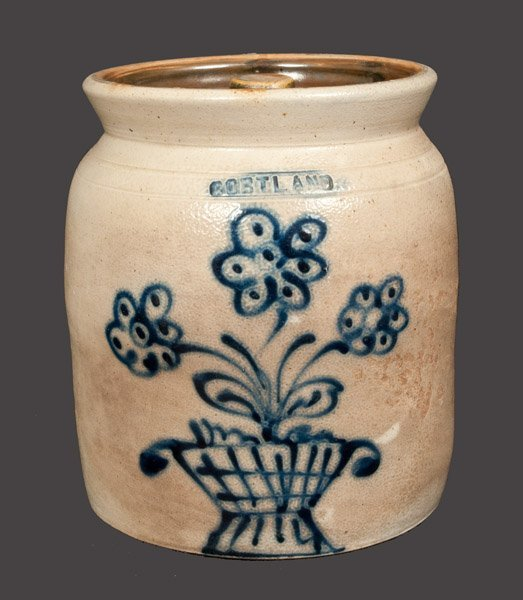1 Gal. CORTLAND Stoneware Crock with Basket of Flowers