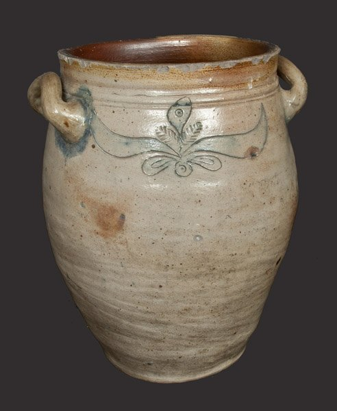 Rare C. CROLIUS, Manhattan Stoneware Crock with Incised