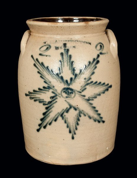 Rare T. HARRINGTON / LYONS Stoneware Crock with Star