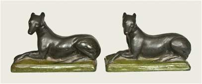 Important Pair of Shenandoah Valley Redware Whippets,