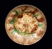 Fine Sgraffito Jacob Medinger Redware Plate with Eagle