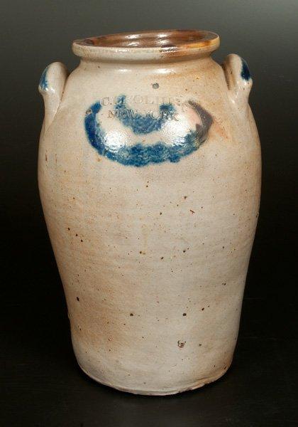 C. CROLIUS / NEW-YORK Stoneware Jar with Cobalt