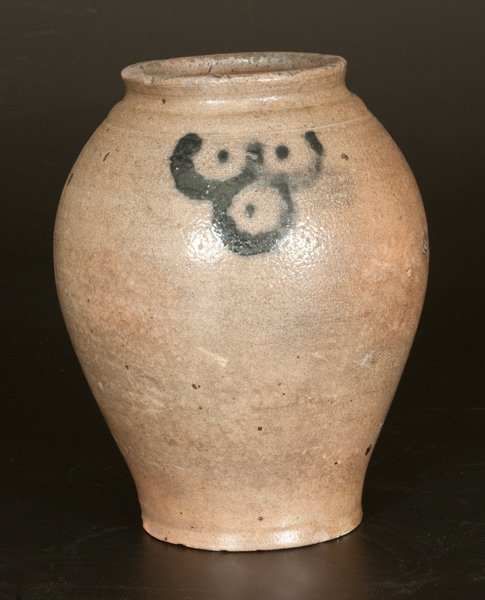 """Small-Sized Stoneware Jar with Cobalt """"Fish Scale"""""""