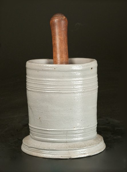 Unusual Stoneware Mortar with Wooden Pestle, Abraham