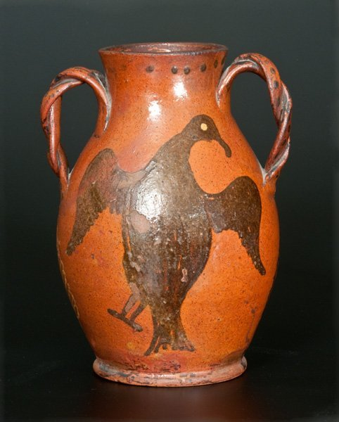 Extremely Rare and Important Redware Vase with Brushed