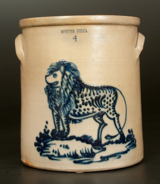 Exceptional WHITES UTICA 4 Gal. Stoneware Crock with