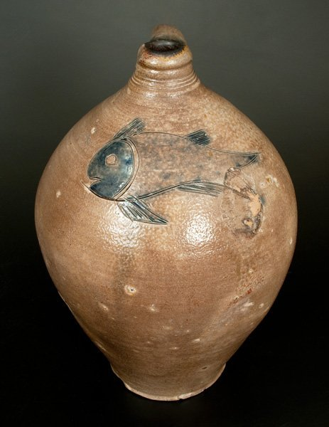 Exceptional Large Ovoid Stoneware Jug w/ Incised Fish