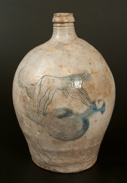 Extremely Rare Stoneware Jug w/ Incised Cat Decoration,