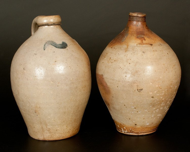 Lot of Two: Ovoid Stoneware Jugs incl. CHARLESTOWN