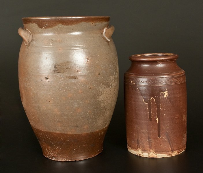 Lot of Two: Stoneware Jars w/ Brown Glazes