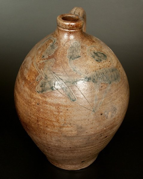 Unusual New York State Stoneware Jug w/ Incised Bird
