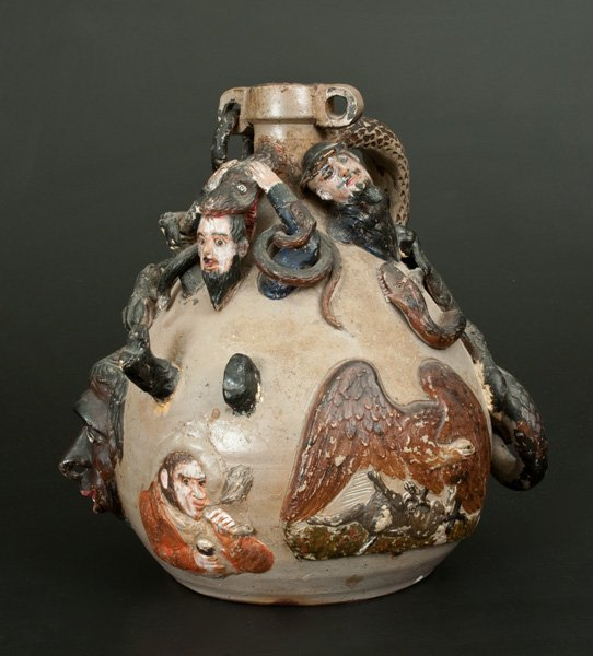 Exceedingly Rare and Important Anna Pottery Snake Jug