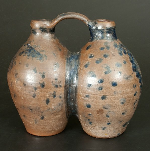 Extremely Rare Stoneware Gemel Jug w/ Cobalt Spotted