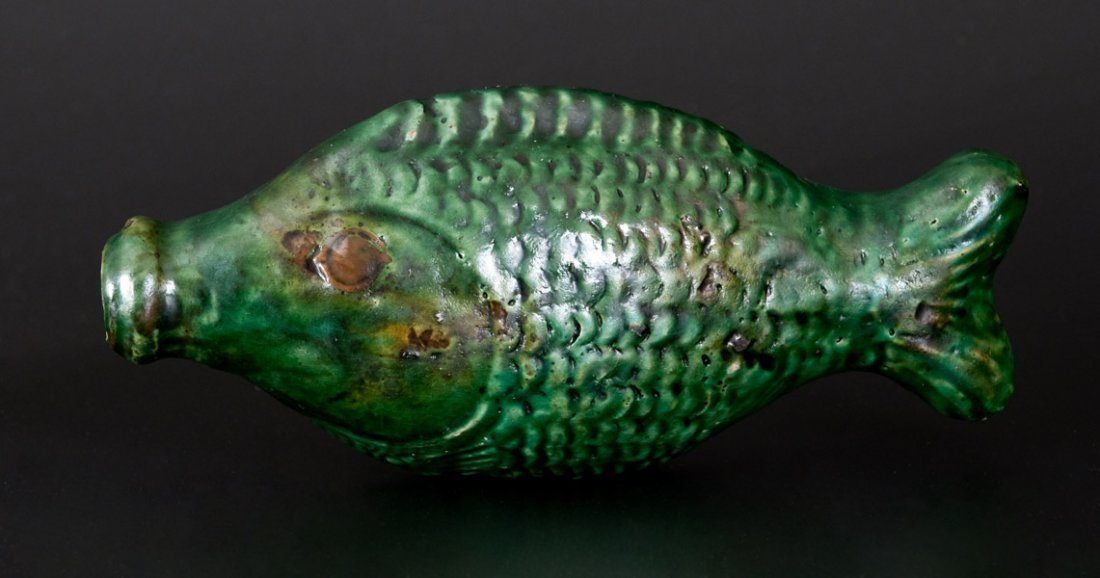 Exceptional Green-Glazed Redware Figural Fish Bottle,