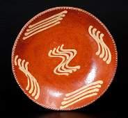 Fine Slip-Decorated Redware Plate, Northeastern U.S.,