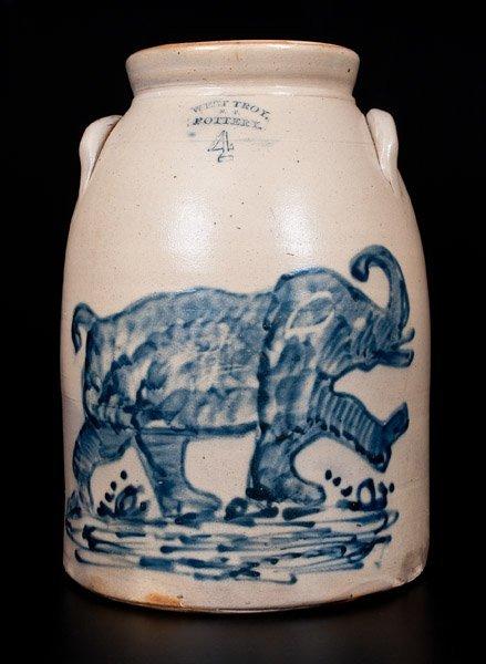 Extremely Important West Troy, NY Elephant Crock