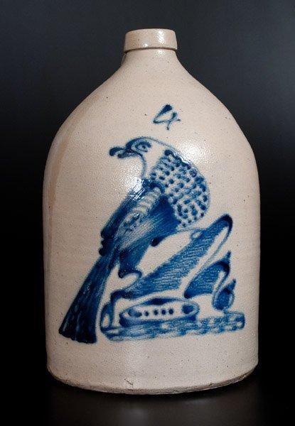 Four-Gallon Albany Stoneware Bird Jug, probably R.