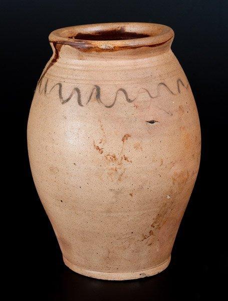 Unusual Ovoid Stoneware Jar with Wavy Decoration