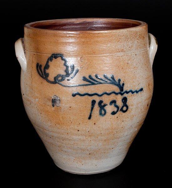Attrib. Smith & Day, Norwalk, CT Stoneware Jar w/ 1838
