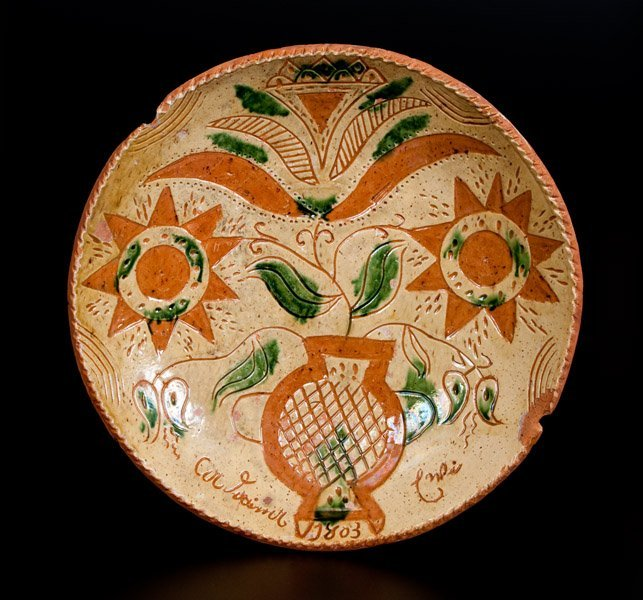Important Andrew Uhler 1803 Sgraffito Redware Plate w/