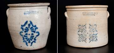 Two F H COWDEN  HARRISBURG PA Stoneware Pieces