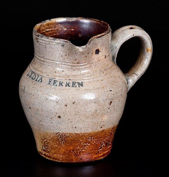 Important LYDIA FERREN, Charlestown, MA c1810 Stoneware
