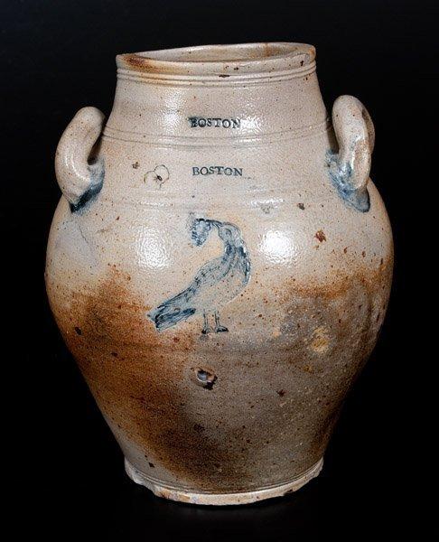 Rare BOSTON Stoneware Jar w/ Impressed Bird Eating