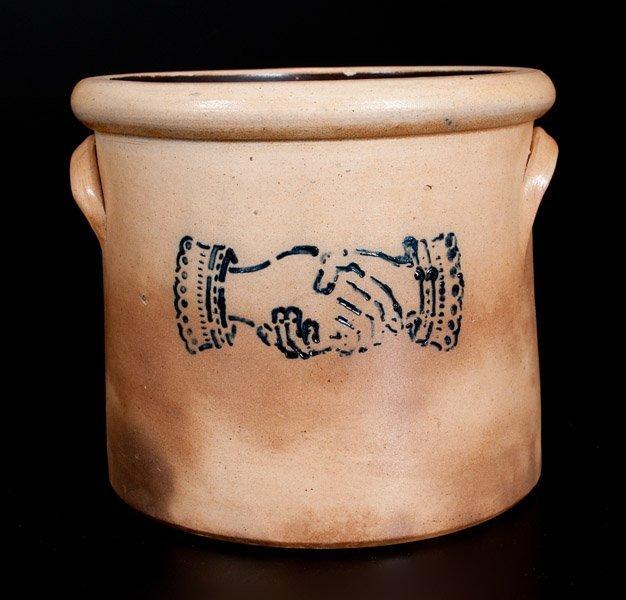 Stoneware Crock w/ Stenciled Cobalt Shaking Hands