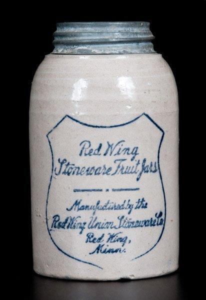 "Rare ""Red Wing Stoneware Fruit Jar"" with Metal Lid"