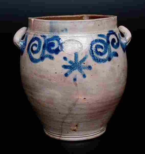 Extremely Rare C. CROLIUS Manhattan Stoneware Jar w/