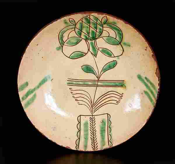 Fine Sgraffito-Decorated PA Redware Plate w/ Flowering