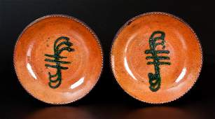 Fine Pair of Redware Plates w/ Green Slip Decoration,