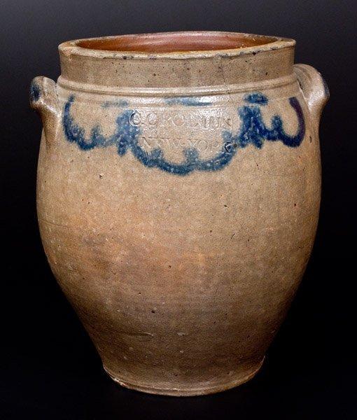 C. CROLIUS / NEW-YORK Stoneware Jar with Cobalt Drape