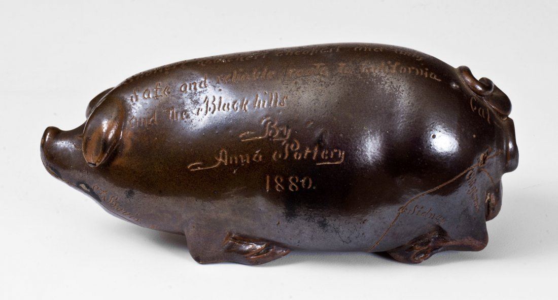 Very Rare Anna Pottery 1880 Stoneware Pig Flask w/